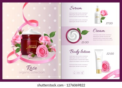 Design advertising poster for cosmetic product with rose for catalog, magazine.Vector design of cosmetic package. Perfume advertising poster.Moisturizing toner, cream, gel, body lotion with rose extra