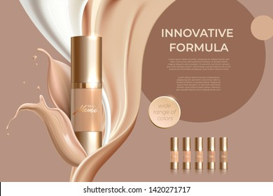 Design advertising poster for cosmetic product for catalog, magazine. Design of cosmetic package. Advertising of foundation cream, concealer, base, BB cream. Realistic creamy texture