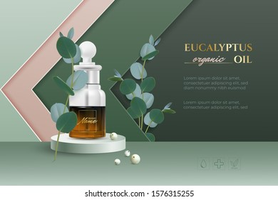 Design advertising poster for cosmetic product for catalog, magazine. Design of cosmetic package. Stylish paper cut background. Toner, cream, gel, body oil with eucalyptus extract.