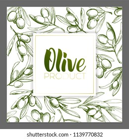 Design of advertising posters, postcards, labels for products from olives. Olive oil lettering by brushpen.