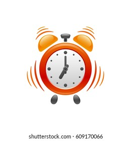 Design of alarm clock with vibration on white background. Its vibrating and ringing at 07:00 am for you wake up. Vector object.