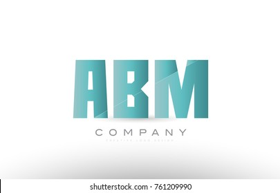 Design of alphabet 3 three letter abm a b m with green gradient color suitable as a logo for a company or business