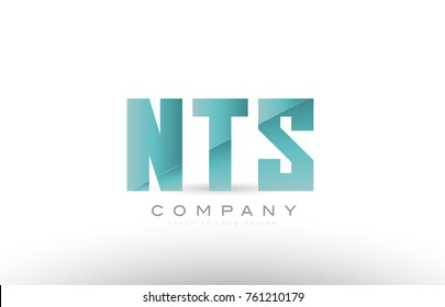Design of alphabet 3 three letter nts n  t s with green gradient color suitable as a logo for a company or business