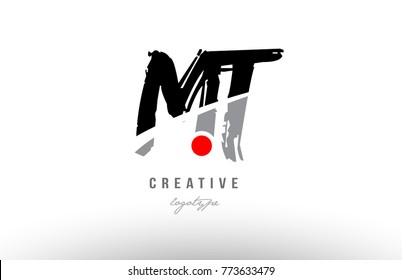 Design of alphabet grunge letter logo combination mt m t with black grey color for a company or business
