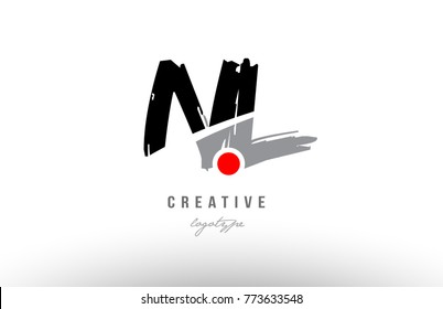 Design of alphabet grunge letter logo combination nl n l with black grey color for a company or business