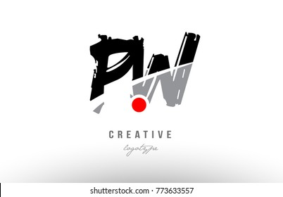 Design of alphabet grunge letter logo combination pw p w with black grey color for a company or business