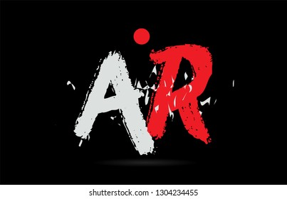Design of alphabet letter combination AR A R on black background with grunge texture and white red color suitable as a logo for a company or business