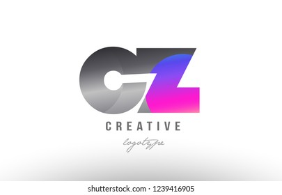 Design of alphabet letter combination cz c z silver grey metal metallic gradient color suitable as a logo for a company or business