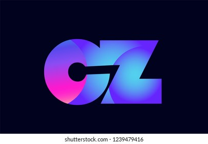 Design of alphabet letter combination cz c z pink blue gradient color suitable as a logo for a company or business