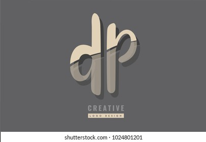 Design of alphabet letter combination dp d p logo suitable as an icon for a company or business