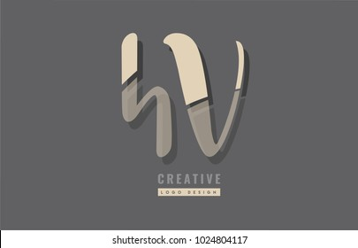 Design of alphabet letter combination hv h v logo suitable as an icon for a company or business