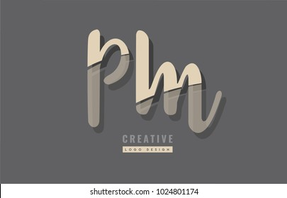 Design of alphabet letter combination pm p m logo suitable as an icon for a company or business