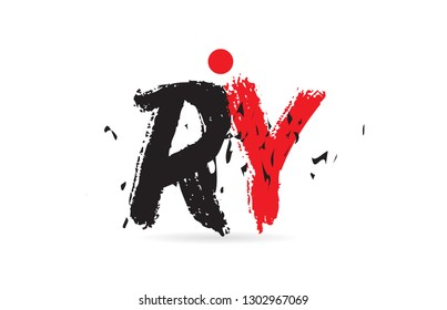 Design of alphabet letter combination RY R Y with grunge texture and black red color suitable as a logo for a company or business