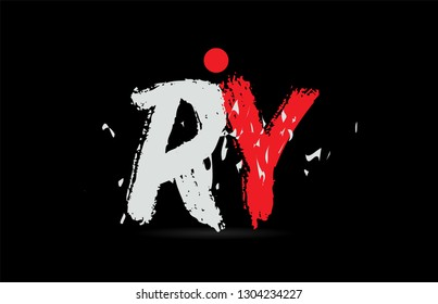 Design of alphabet letter combination RY R Y on black background with grunge texture and white red color suitable as a logo for a company or business