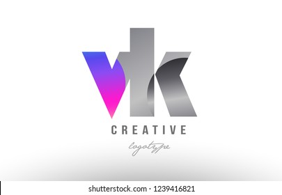 Design of alphabet letter combination vk v k silver grey metal metallic gradient color suitable as a logo for a company or business