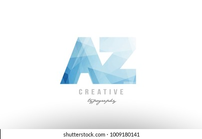 Design of alphabet letter logo az a z  combination with blue color and polygonal pattern suitable as an icon for a company or business