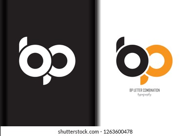 Design of alphabet letter logo bp b p combination with black orange white color for a company or business - Vector