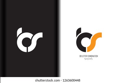 Design of alphabet letter logo bs b s combination with black orange white color for a company or business - Vector