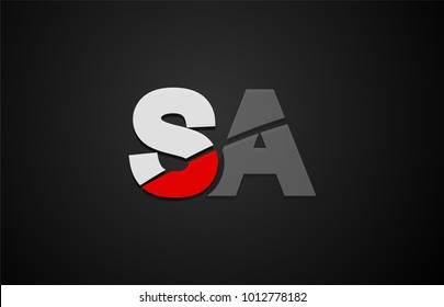 Design of alphabet letter logo combination sa s a with red white and black color icon for a company or business