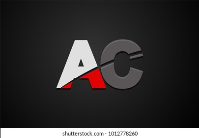 Design of alphabet letter logo combination ac a c with red white and black color icon for a company or business