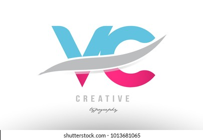 Design of alphabet letter logo combination vc v c with pink blue color suitable as an icon for a company or business