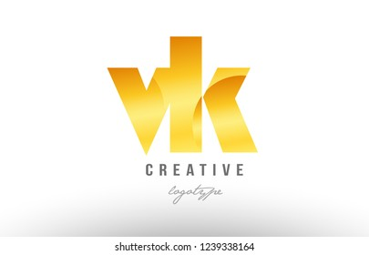 Design of alphabet letter logo combination vk v k with gold golden metal gradient color for a company or business