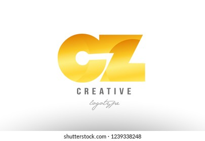 Design of alphabet letter logo combination cz c z with gold golden metal gradient color for a company or business