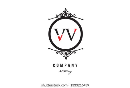 Design of alphabet letter logo combination VV V V with red black white color and decorative circle monogram suitable as a logo for a company or business