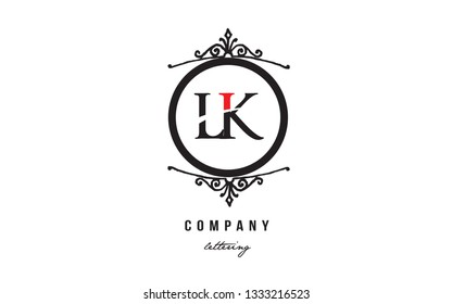 Design of alphabet letter logo combination LK L K with red black white color and decorative circle monogram suitable as a logo for a company or business