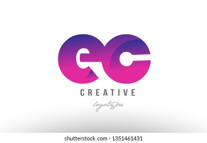 Design of alphabet letter logo combination ec e c with pink gradient color for a company or business