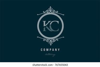 Design of alphabet letter logo combination kc k c with blue pastel color and decorative circle monogram suitable as a logo for a company or business