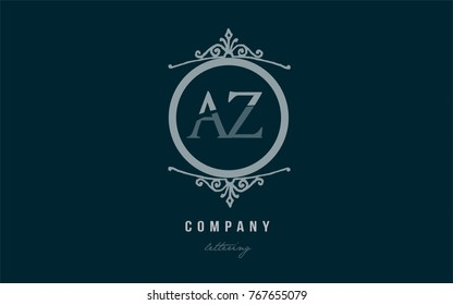 Design of alphabet letter logo combination az a z with blue pastel color and decorative circle monogram suitable as a logo for a company or business