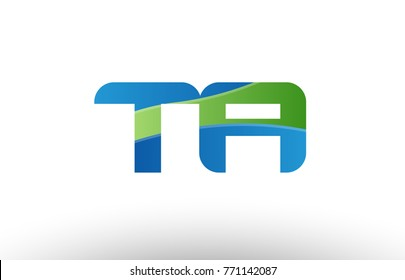 Design of alphabet letter logo combination ta t a with blue green color suitable as a logo for a company or business