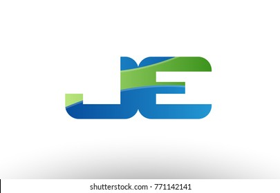 Design of alphabet letter logo combination je j e with blue green color suitable as a logo for a company or business