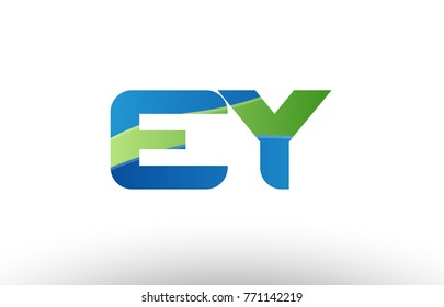 Design of alphabet letter logo combination ey e y with blue green color suitable as a logo for a company or business