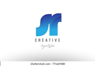 Design of alphabet letter logo combination sr s r with blue gradient color for a company or business