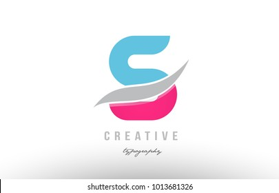 Design of alphabet letter logo s with pink blue color suitable as an icon for a company or business