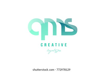 Design of alphabet modern letter logo combination qms q m s with green pastel gradient color for a company or business