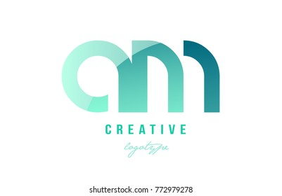 Design of alphabet modern letter logo combination am a m with green pastel gradient color for a company or business