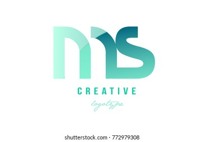 Design of alphabet modern letter logo combination ms m s with green pastel gradient color for a company or business