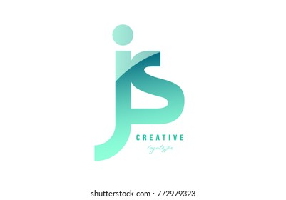 Design of alphabet modern letter logo combination js j s with green pastel gradient color for a company or business