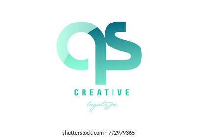 Design of alphabet modern letter logo combination qs q s with green pastel gradient color for a company or business