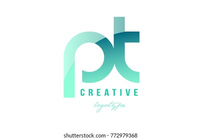 Design of alphabet modern letter logo combination pt p t with green pastel gradient color for a company or business