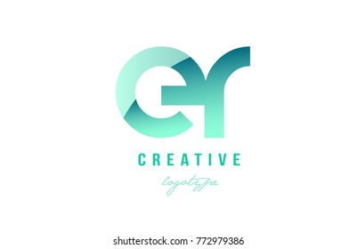 Design of alphabet modern letter logo combination er e r with green pastel gradient color for a company or business