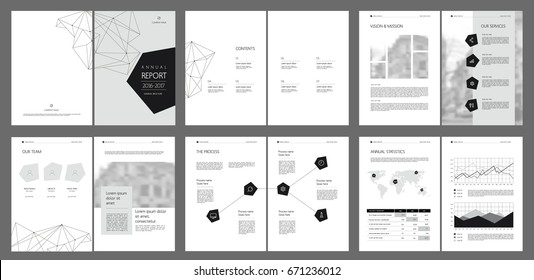 Design annual report, cover, vector template brochures, flyers, presentations, leaflet, magazine a4 size. Minimalistic abstract  grey templates - stock vector