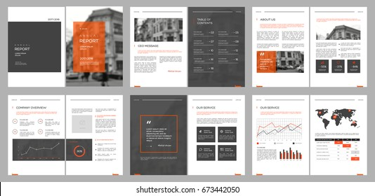 Design annual report, cover, vector template brochures, flyers, presentations, leaflet, magazine a4 size. Grey and Orange Minimalistic abstract templates - stock vector