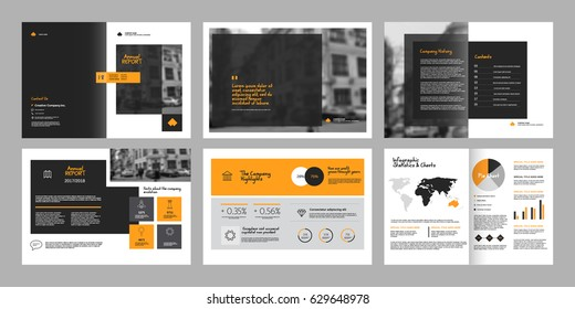 Design annual report,vector template brochures, flyers, presentations, leaflet, magazine a4 size. Grey and yellow geometric elements on a white background. - stock vector