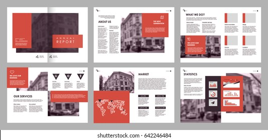 Design annual report,vector template brochures, flyers, presentations, leaflet, magazine a4 size. Red and purple geometric elements on a white background. - stock vector