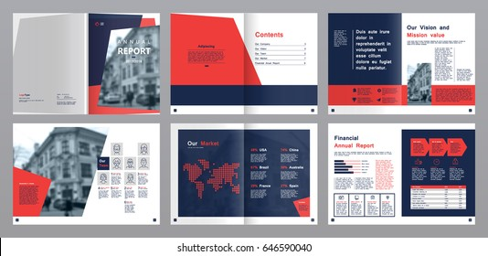 Design annual report,vector template brochures, flyers, presentations, leaflet, magazine a4 size. Blue and Red geometric elements on a white background. - stock vector
