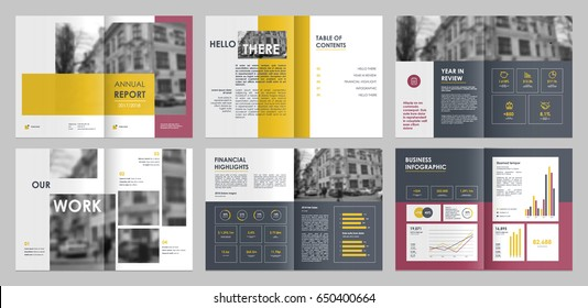 Design annual report,vector template brochures, flyers, presentations, leaflet, magazine a4 size. Yellow, pink and grey geometric elements on a white background. - stock vector